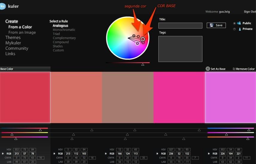 Combinar cores com Kuler